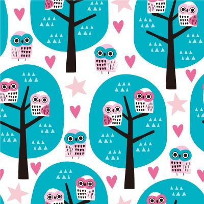 Fully printed cartoons include trees and owls