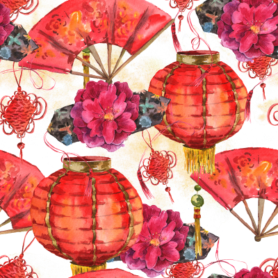 Chinese New Year lantern Chinese fan peony