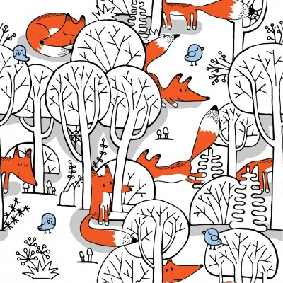 There are trees in the forest, foxes and birds