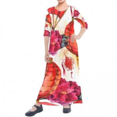 Girls' Quarter Sleeve Maxi Dress